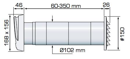 Fresh TL98F wall vent dimensions